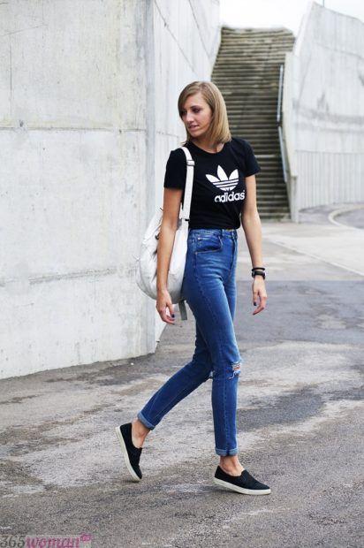 летние образы 2019 для девушек: с завышенными джинсами