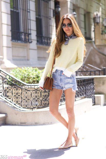 летние образы 2019 для девушек: с джинсовыми шортами