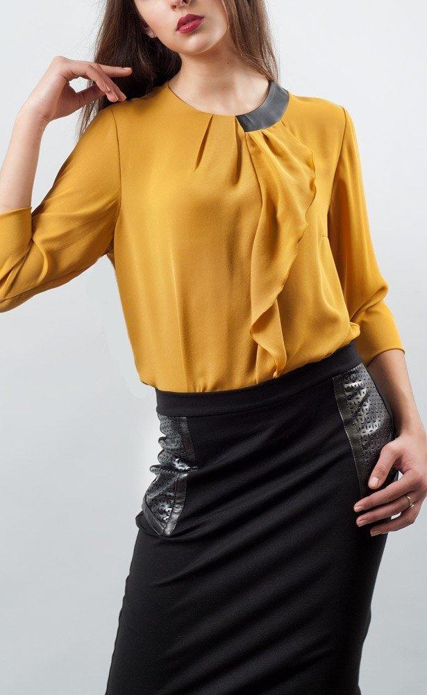 горчичная блуза из шифона
