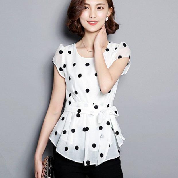 шифоновые блузы с коротким рукавом