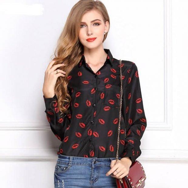 шифоновые блузы с длинным рукавом