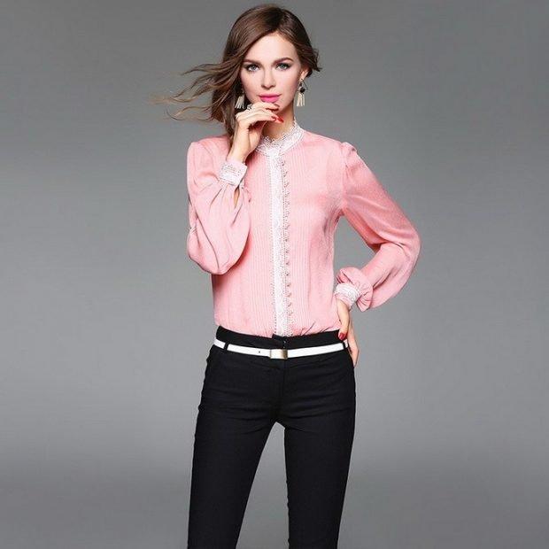 офисная блуза с длинным рукавом