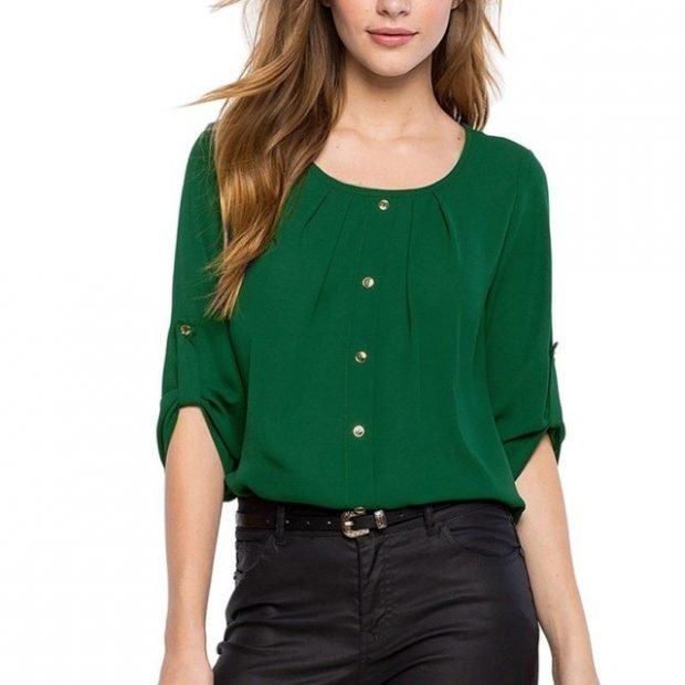 зеленая шифоновая блуза
