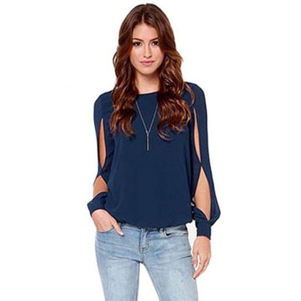 блуза из шифона с джинсами