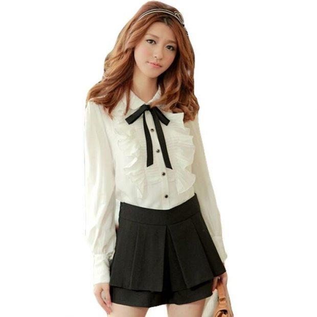 блуза из шифона с бантом