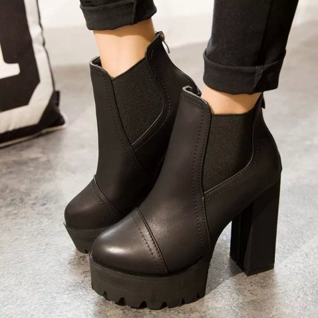 черные на толстом каблуке