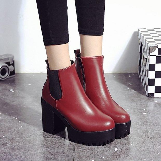 ботинки женские осень-зима 2018 2019 фото на толстом каблуке