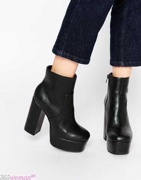 ботинки на толстом каблуке женские осень-зима 2018 2019 фото