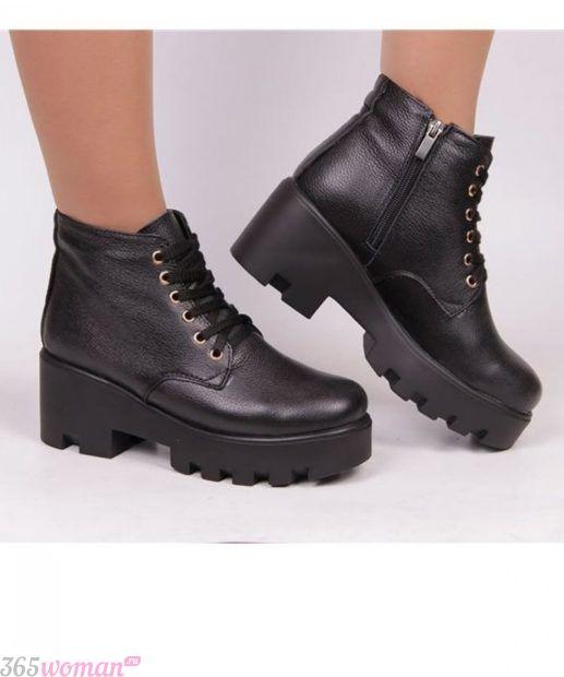 ботинки женские осень-зима 2018 2019 фото со шнуровкой