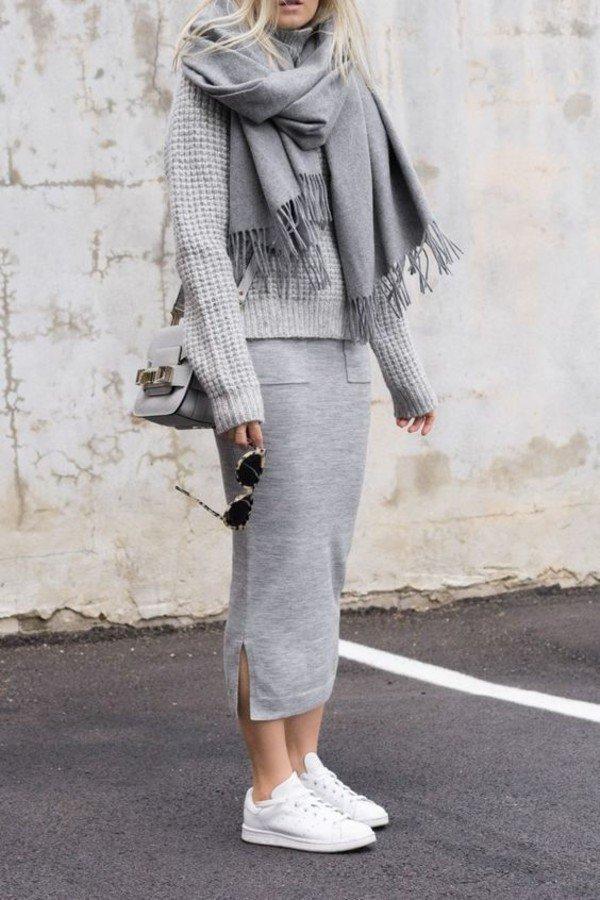 осень зима 2019 2020 цвет: серый одежде