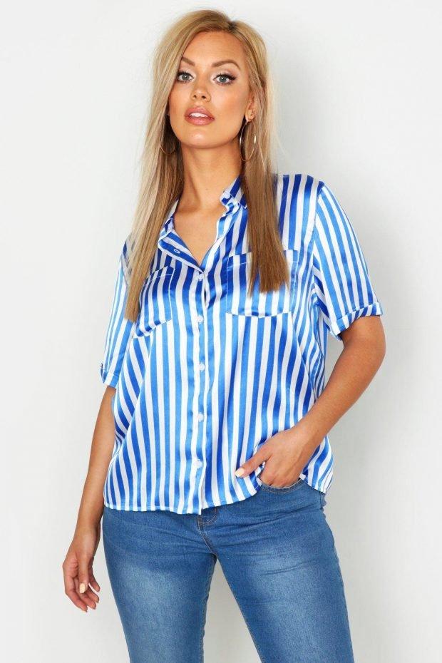 С чем сочетается синий цвет в одежде: блузка