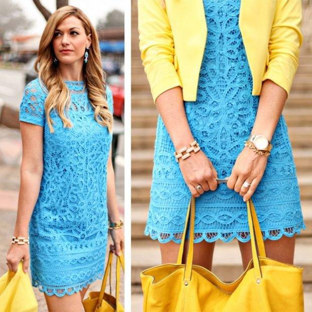 с чем сочетается синий цвет в одежде у женщин фото: с желтым