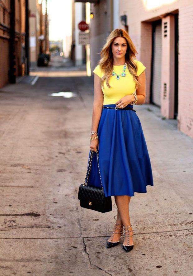 сочетание синего и желтого цвета в одежде