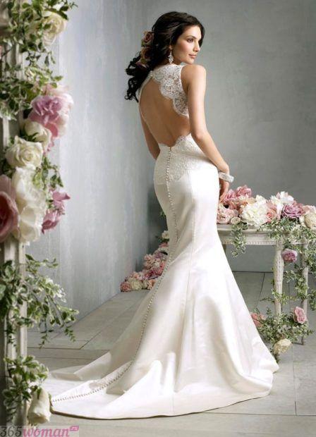 свадебное платье русалка с открытой спиной