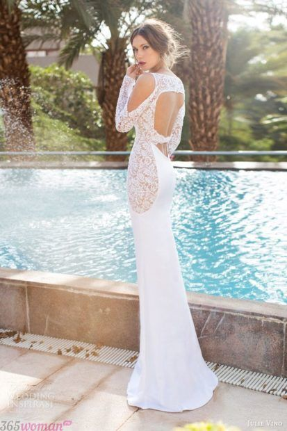прямое свадебное платье с открытой спиной