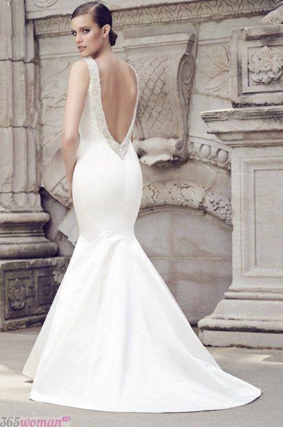 свадебные платья русалка с открытой спиной