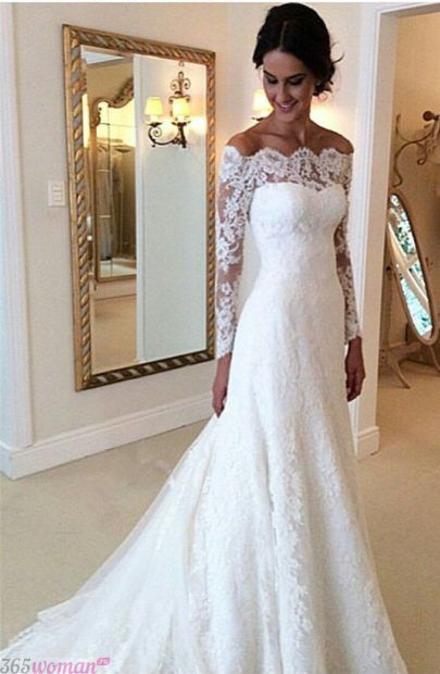 длинные свадебные платья: кружевное