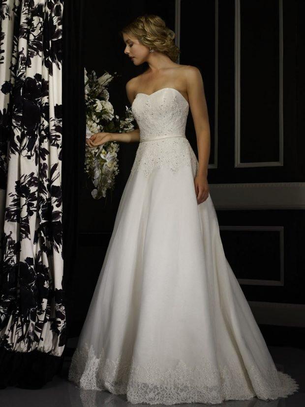 свадебные платья в пол: А-силуэта