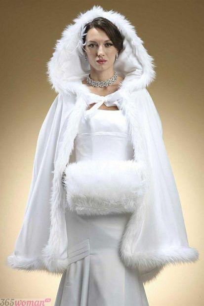свадебные платья в пол: меховая шубка