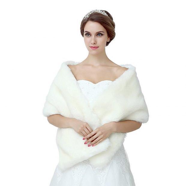 свадебные платья в пол: меховое болеро