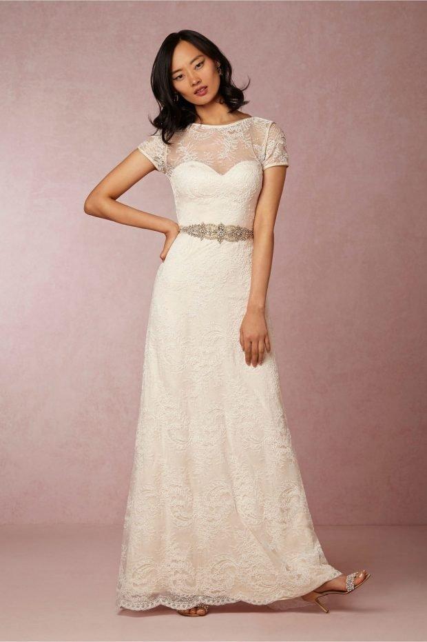 свадебные платья в пол: прямое