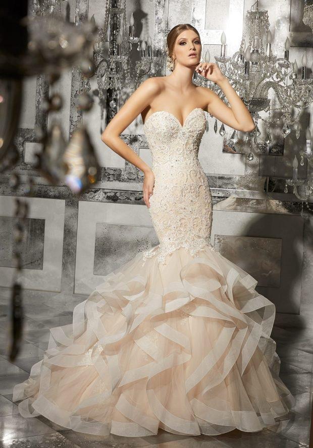 свадебные платья в пол: рыбка