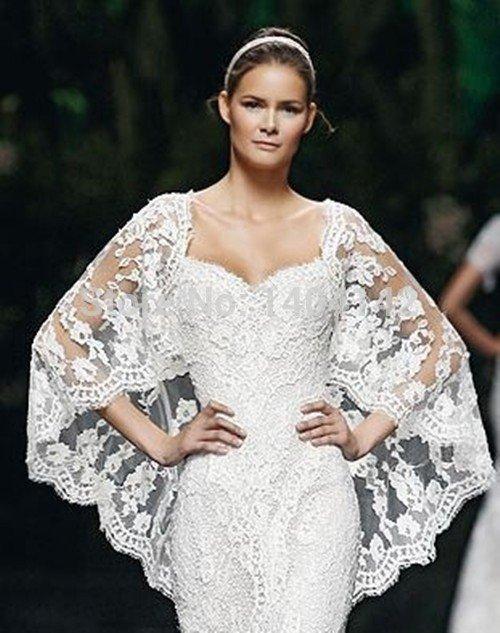 свадебные платья в пол: накидка