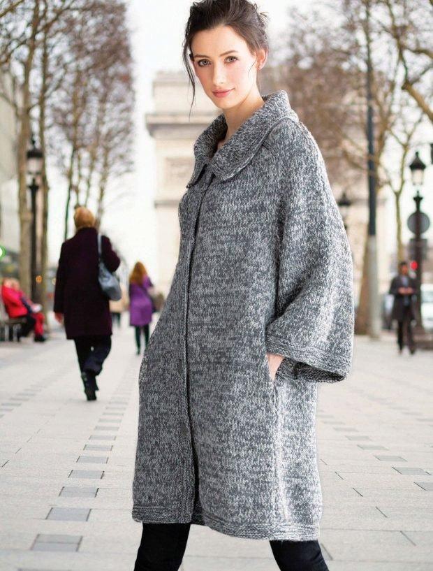 модное вязаное пальто осень зима 2019 2020