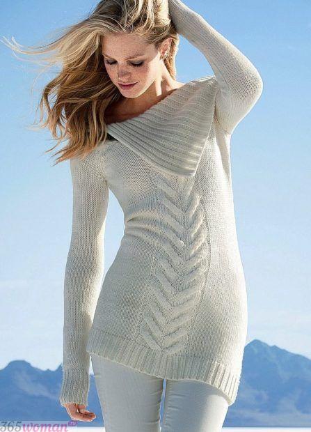 вязаный свитер платье мода осень зима 2018 2019