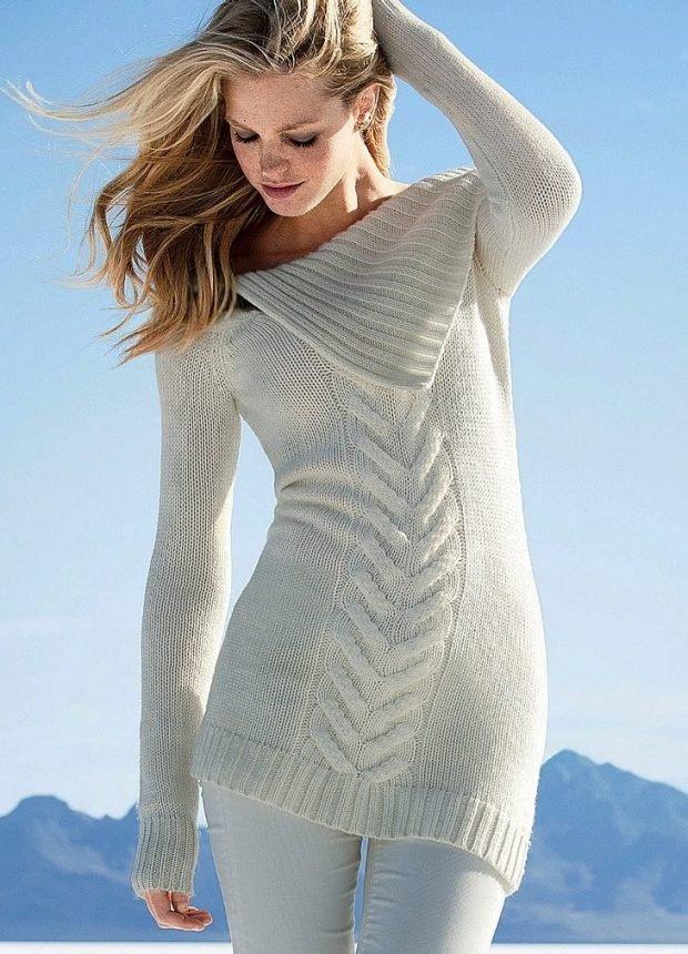 вязаный свитер платье мода осень зима 2019 2020