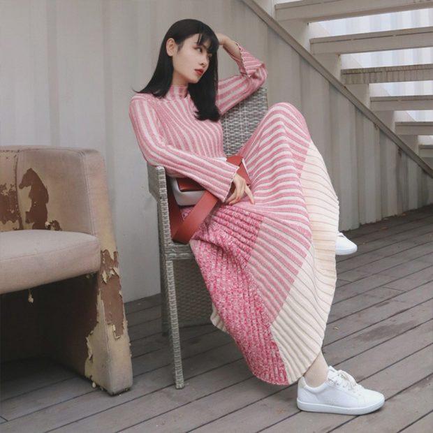 длинное вязаное платье мода осень зима 2019 2020
