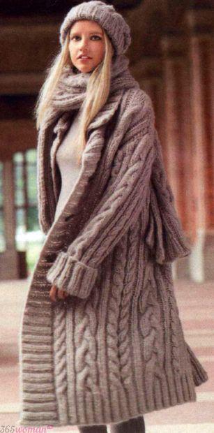 вязаное пальто мода осень зима 2018 2019