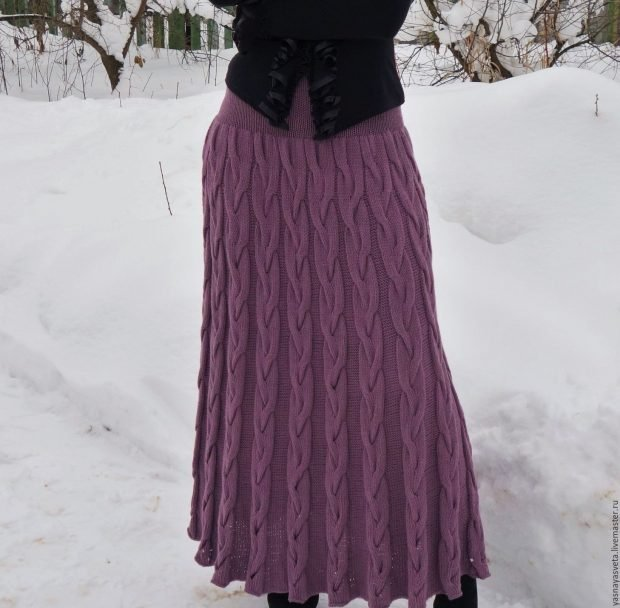 длинная вязаная юбка мода осень зима 2018 2019