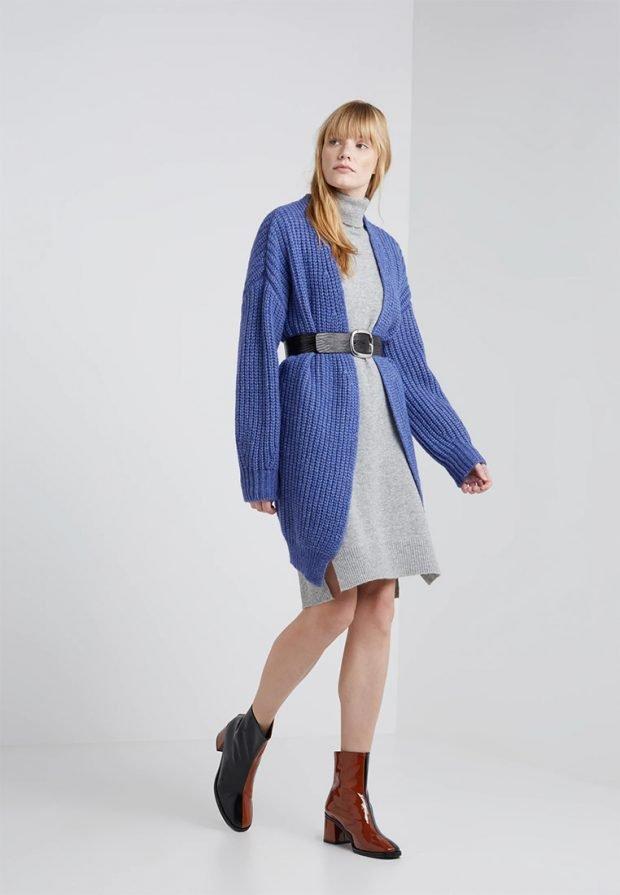 Вязаные платья крючком 2019 2020: синий серый