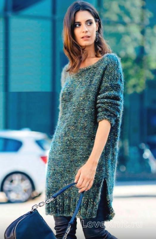 свитер зеленое с вкраплениями