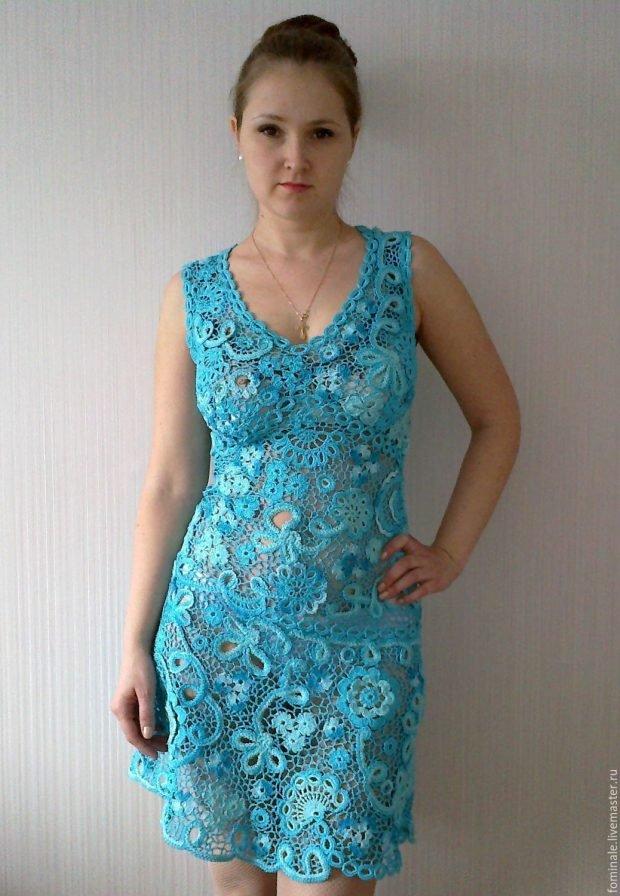 летние вязаные платья