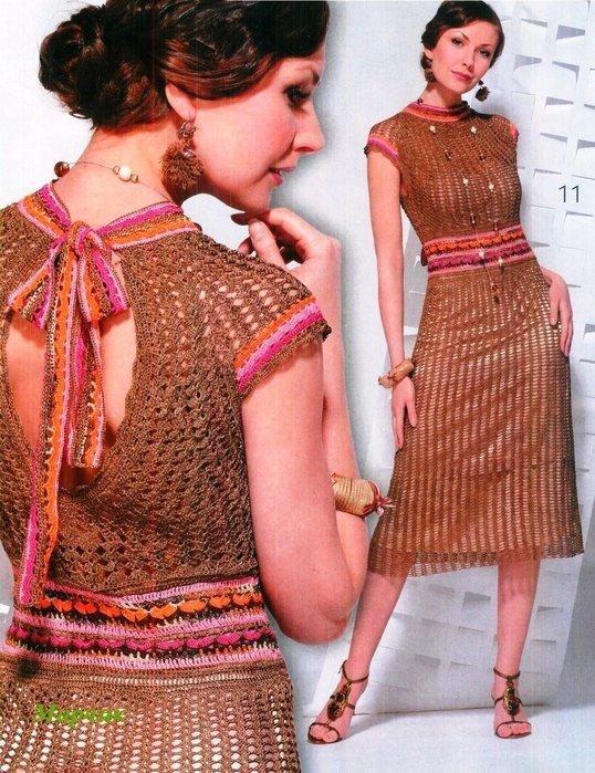 весеннее вязанное платье
