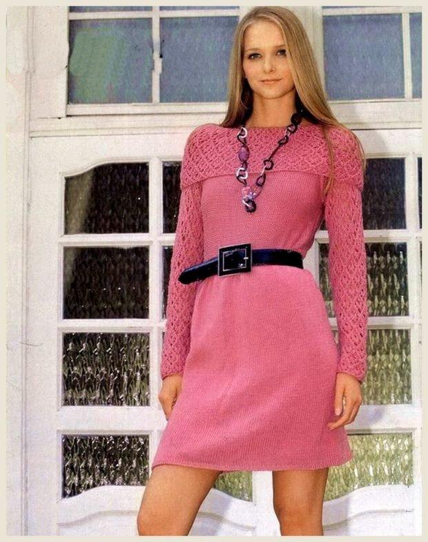весенние вязаные платья