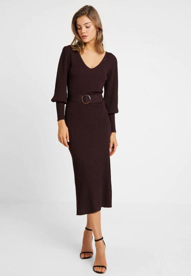 Вязаные платья крючком 2019 2020: темно коричневое