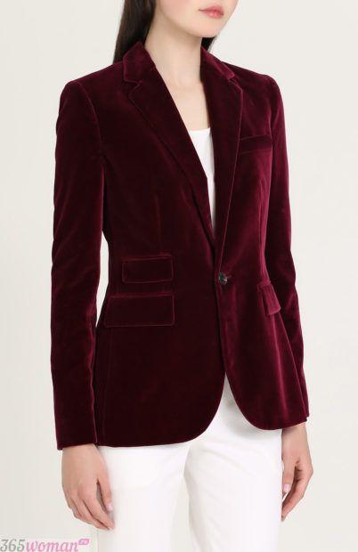 велюровый пиджак бордо для базового гардероба 2018