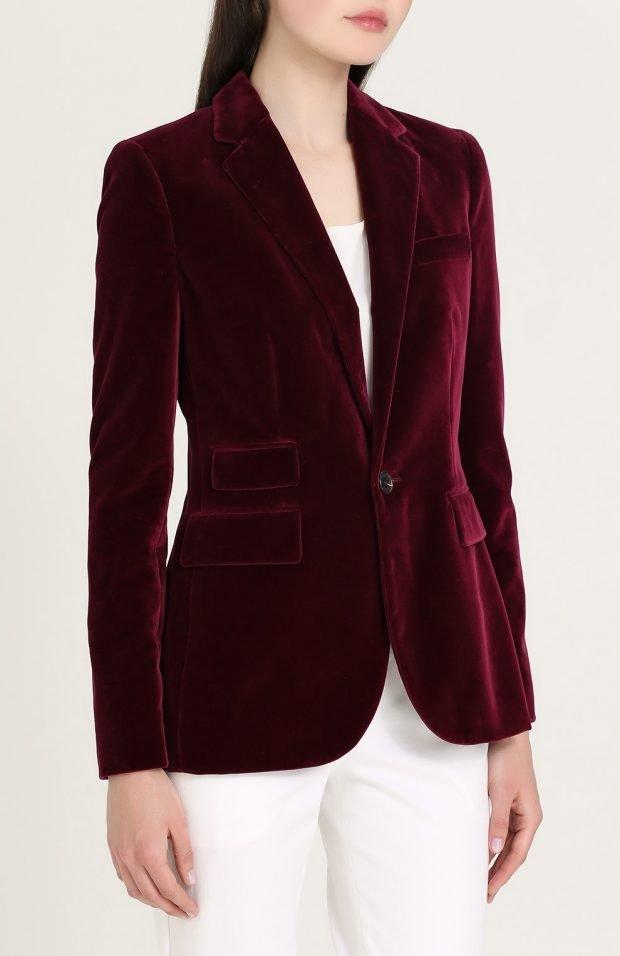 велюровый пиджак бордо для базового гардероба