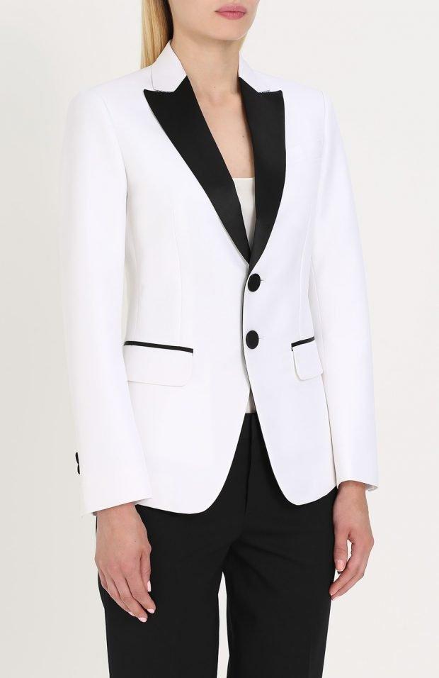 белый пиджак с черными вставками для базового гардероба