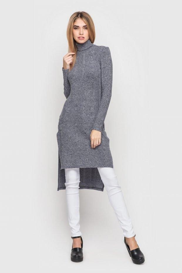 серая длинная туника для базового гардероба