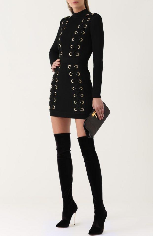 Базовый гардероб 2019 2020: черное платье с декором