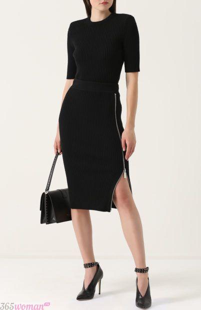 черная юбка на молнии для базового гардероба 2018