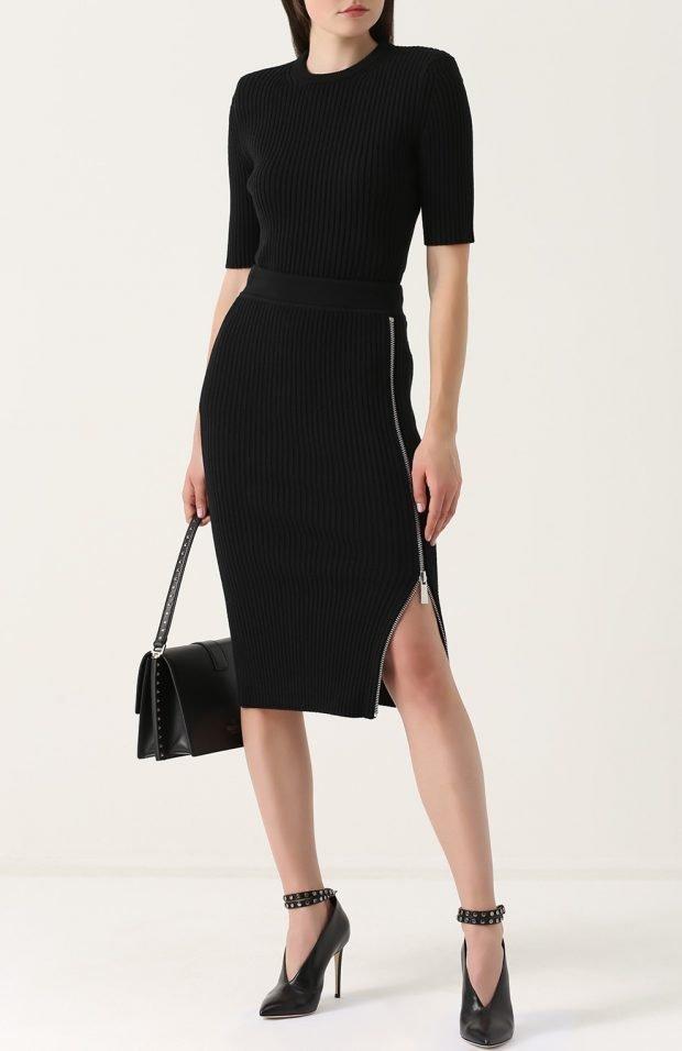 черная юбка на молнии для базового гардероба