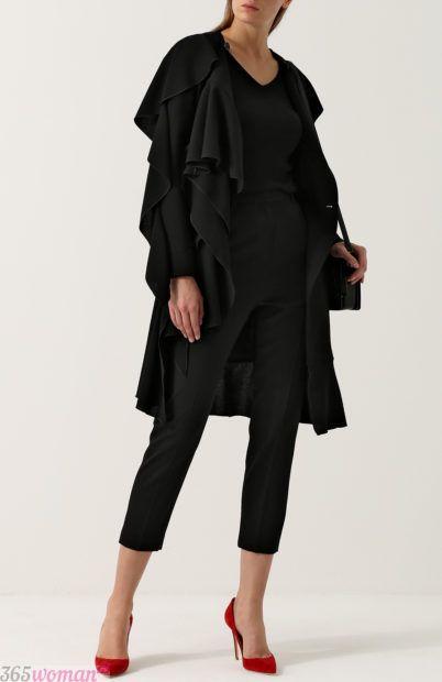 черное короткое пальто для базового гардероба 2018