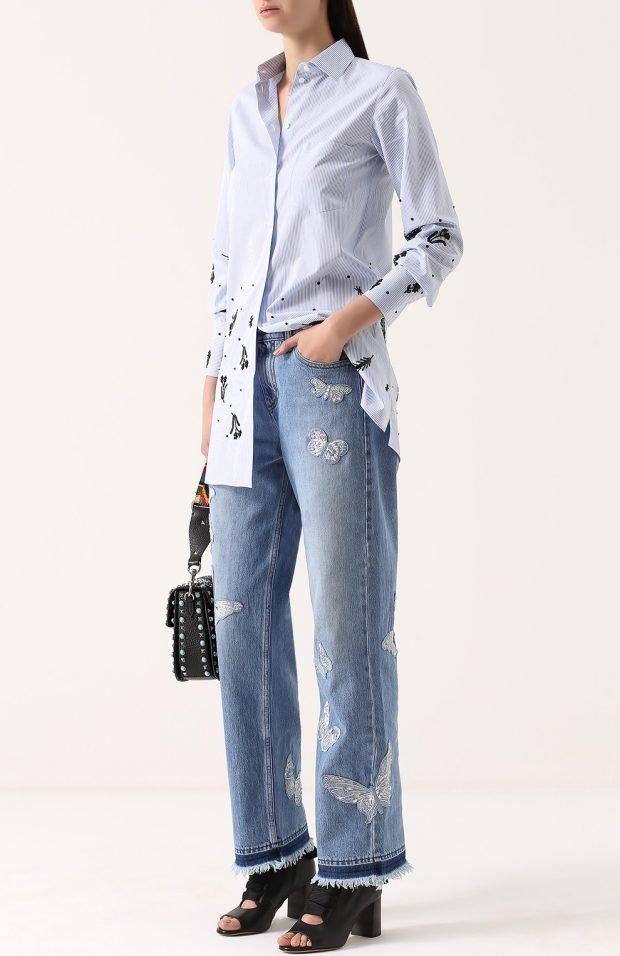 широкие голубые джинсы для базового гардероба 2019 2020
