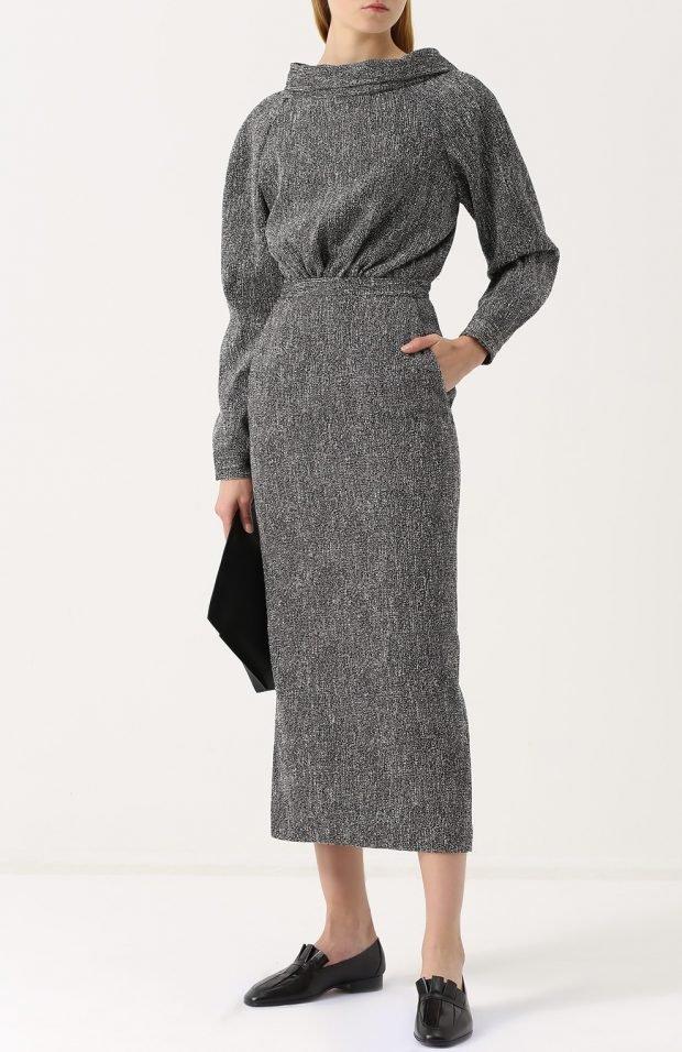 теплое серое платье для базового гардероба
