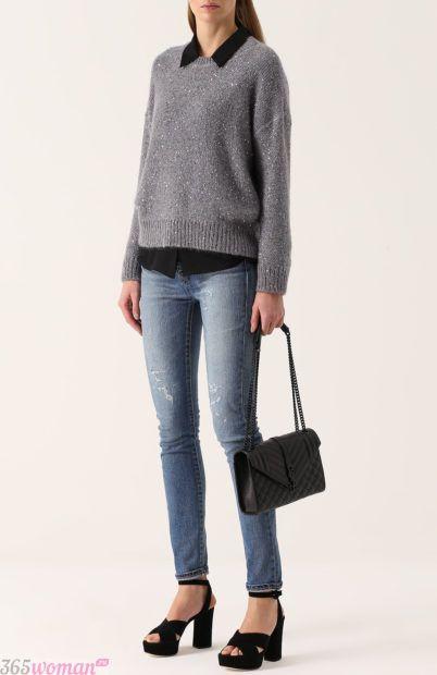 синие узкие джинсы для базового гардероба 2018